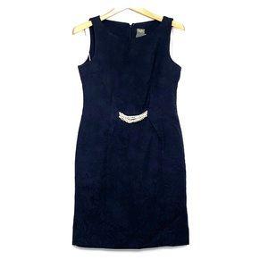 JUST TAYLOR Black Jacquard LBD Jewel Waist Dress